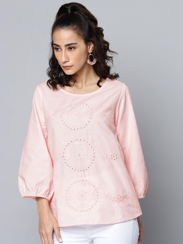 Pink Schiffli Embroidered Cotton LinenTop