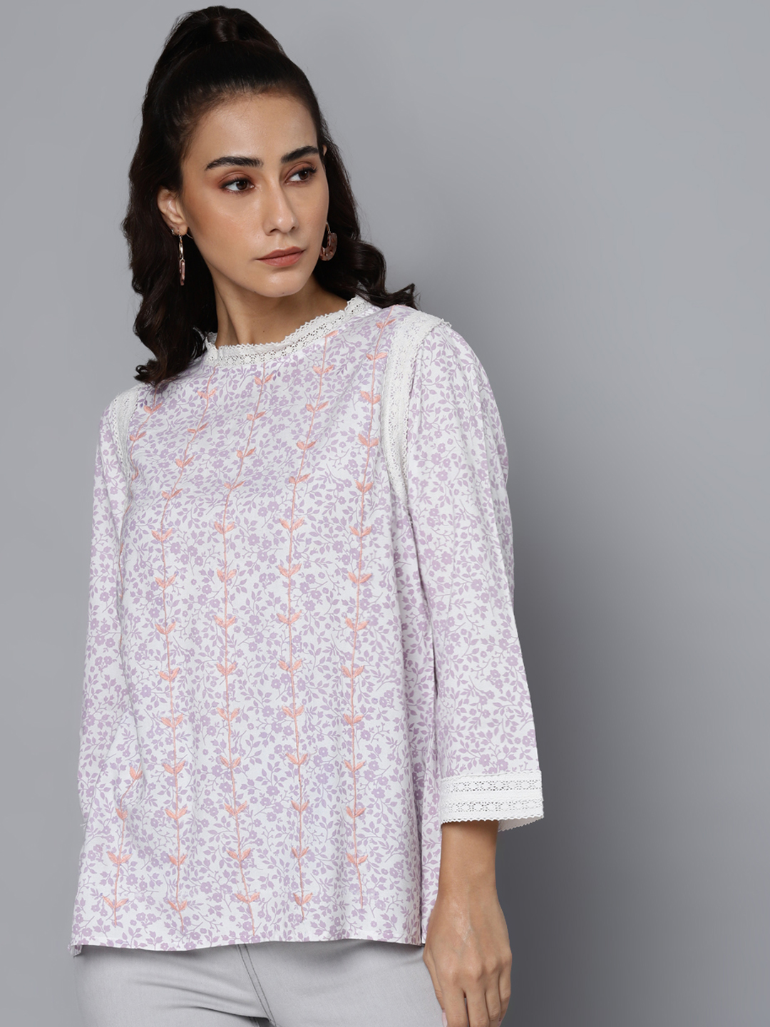 Printed Embroidered & Lace Detail Top