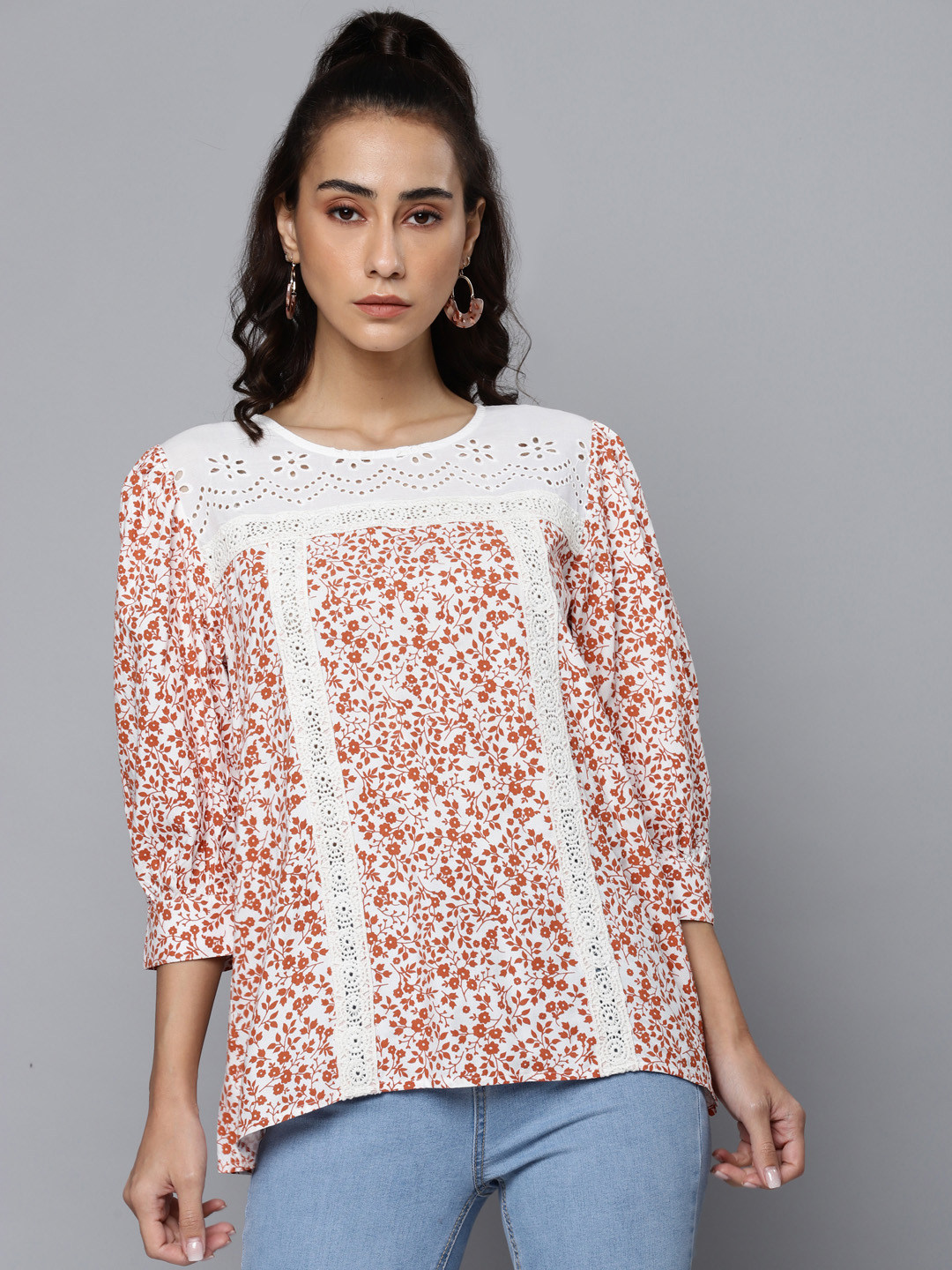 Printed Top with Lace Detail & Schiffli Yoke
