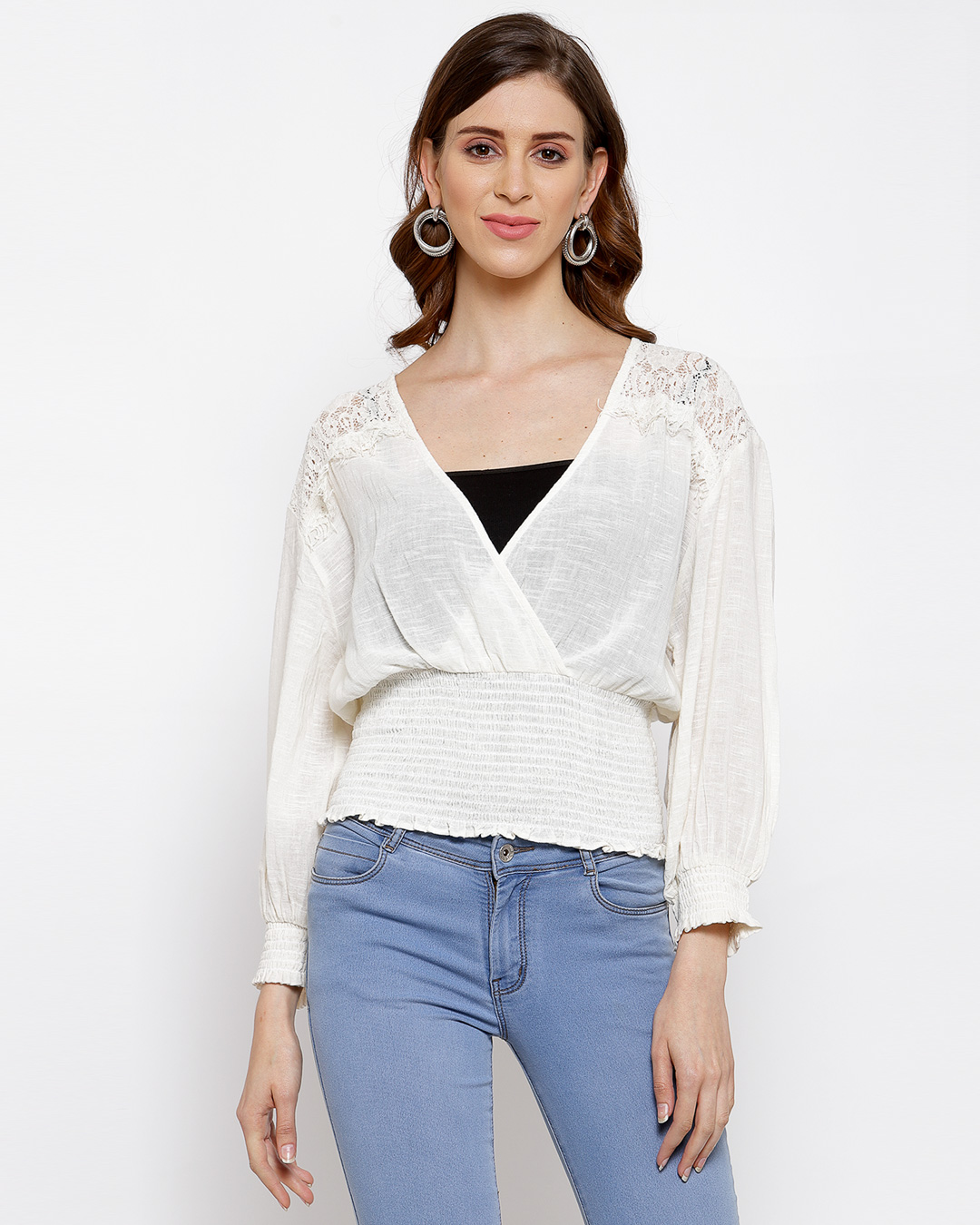Lace Insert Top With Smocked Waist