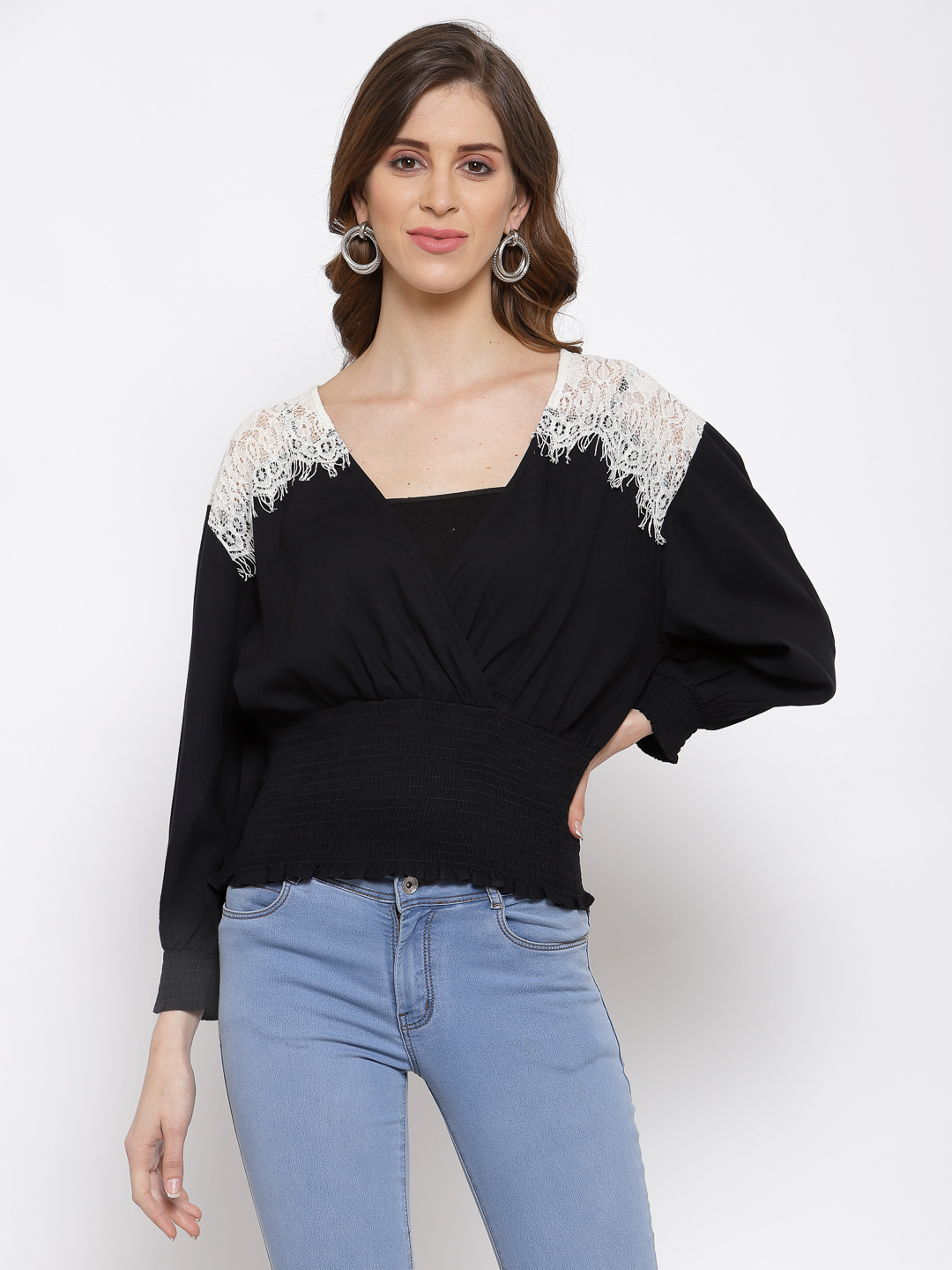Black Lace Insert Top With Smocked Waist