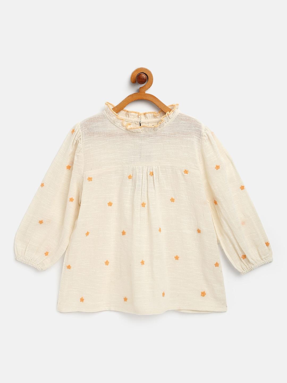 Cotton slub all over embroidered top