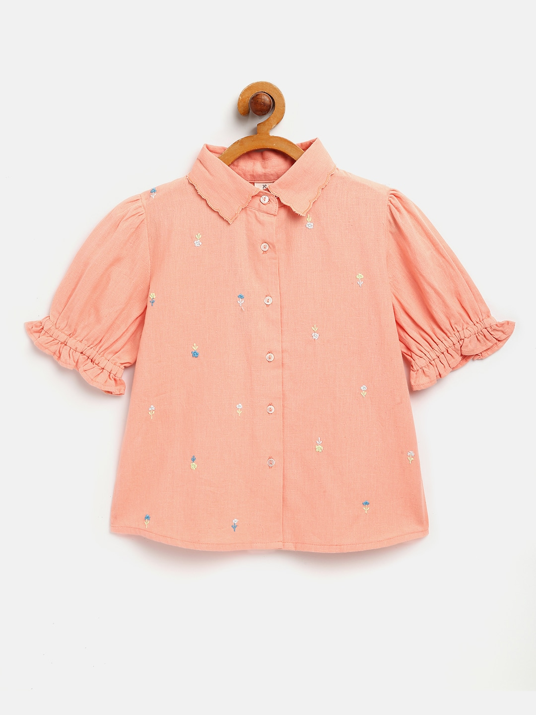 Embroidered shirt top with short sleeves