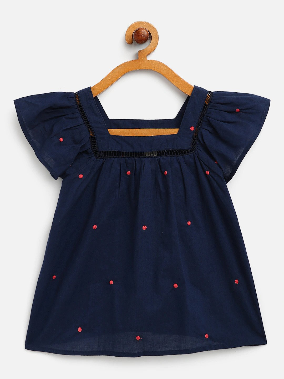 Polka dot Embroidered cotton top with lace detail