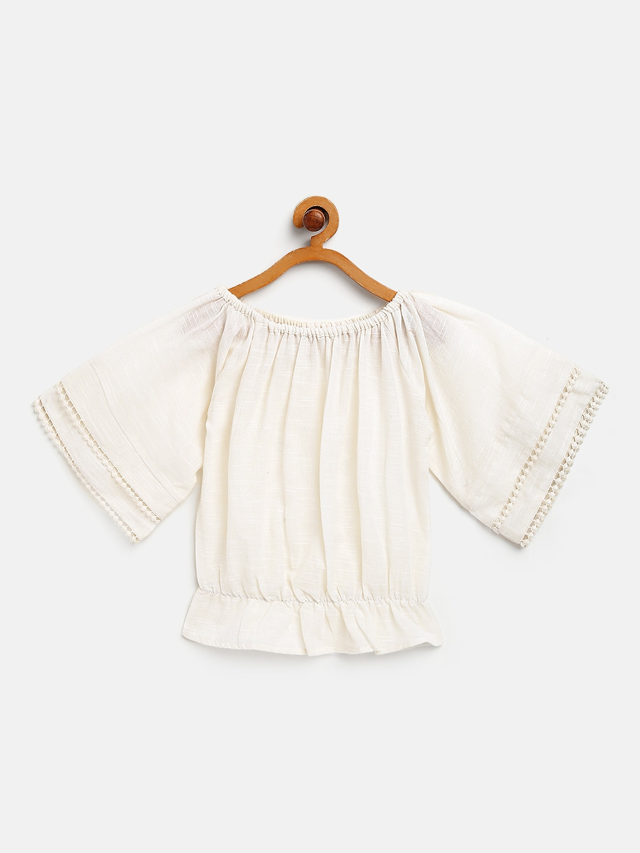 Cotton Gauze Off-Shoulder Top with lace detail