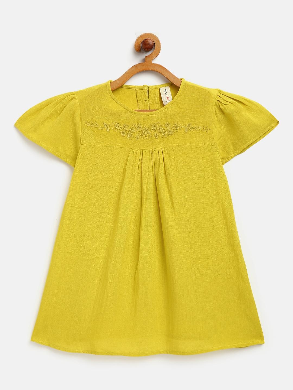 Yoke Embroidered yellow top