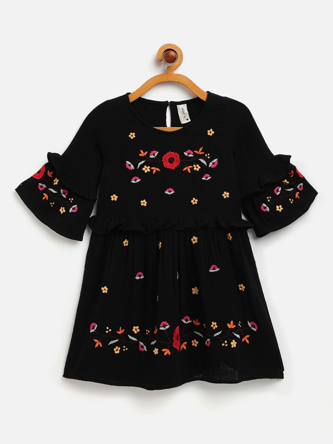 EMBROIDERED COTTON DRESS WITH FLARRED SLEEVES
