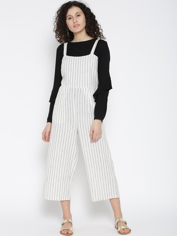 Cotton Ivory Stripe Dungarees