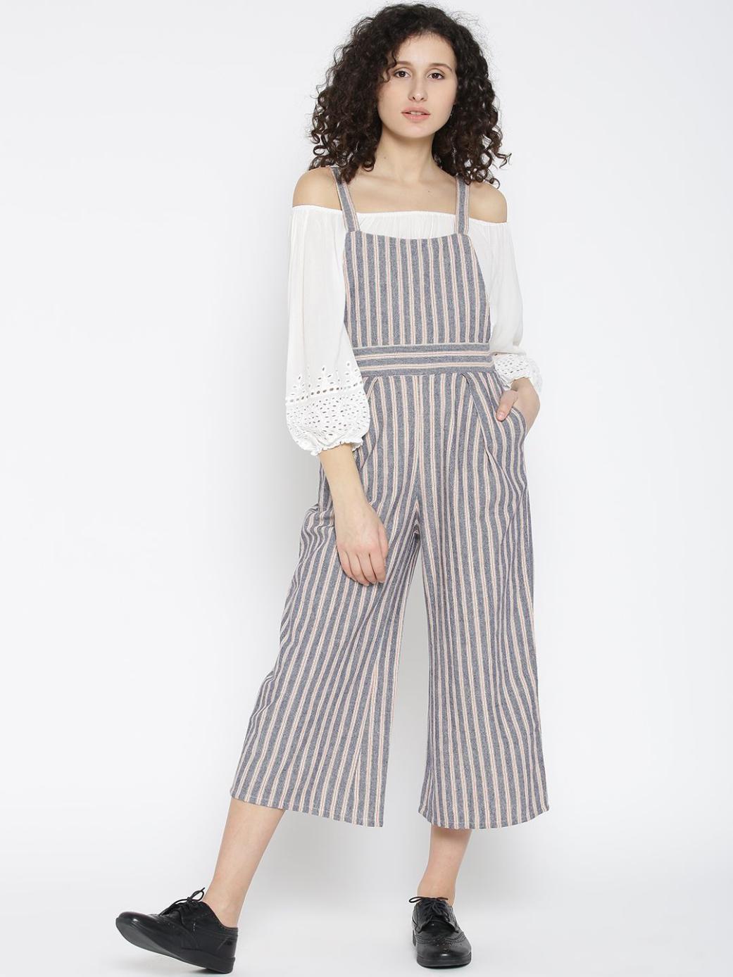 Cotton Grey Stripe Dungarees
