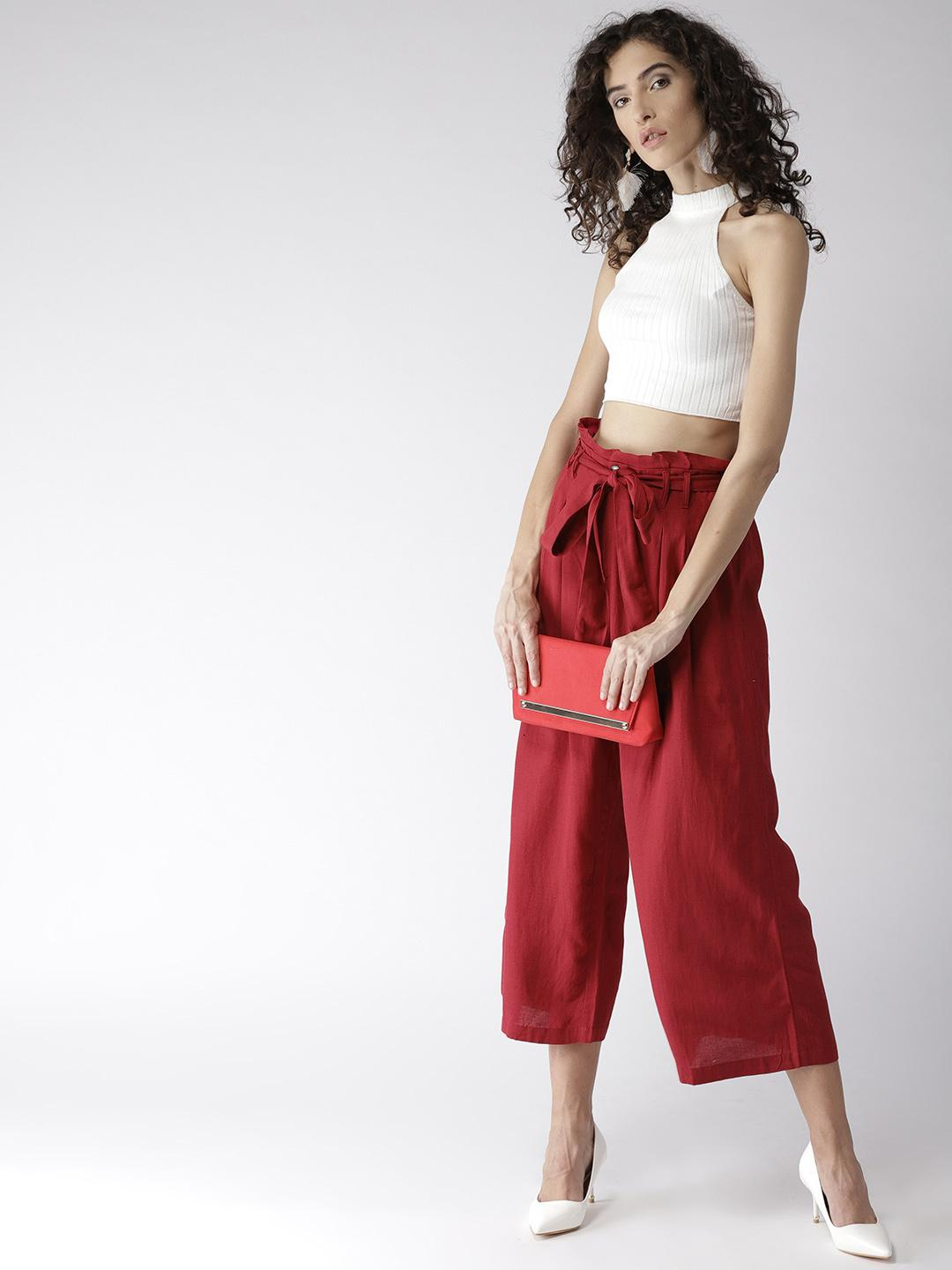 Red Mid Length Paperbag Wide Leg Trousers