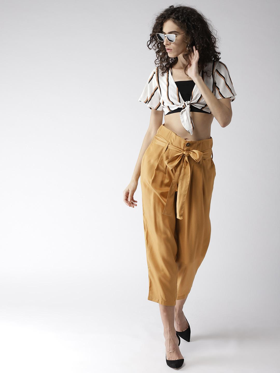 Mustard Cotton Front knoted Trousers